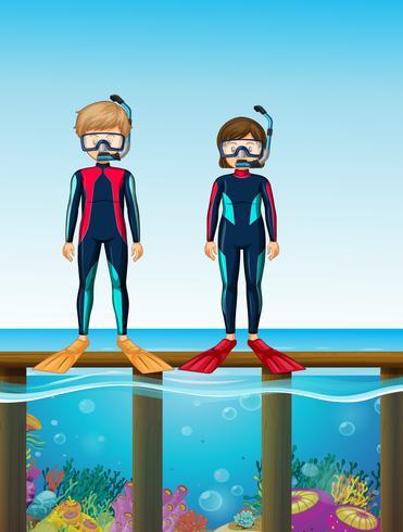 Dois, mergulhadores, ficar, ponte vetor
