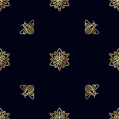Padrão sem emenda com abelha de ouro vetor