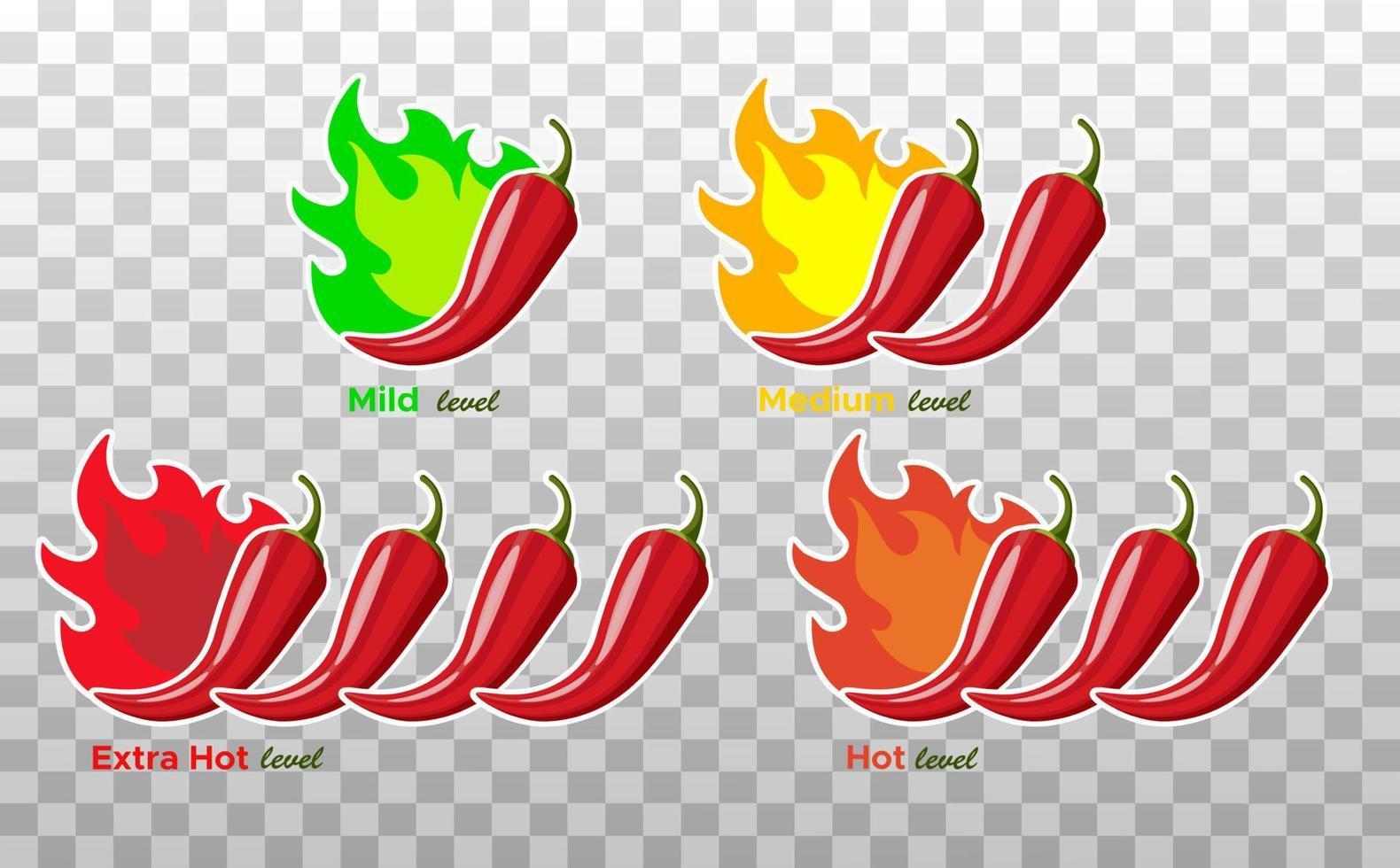 ícones com níveis de tempero de pimenta chili. sinal de pimenta com chama de fogo para embalar alimentos picantes. Adesivos de molho de pimenta leve, médio e extra. ilustração vetorial. vetor