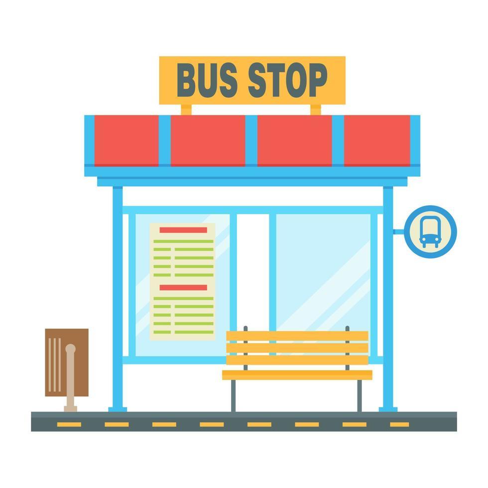 ponto de ônibus vazio com o esquema de tráfego e o sinal de parada. ilustração vetorial plana vetor