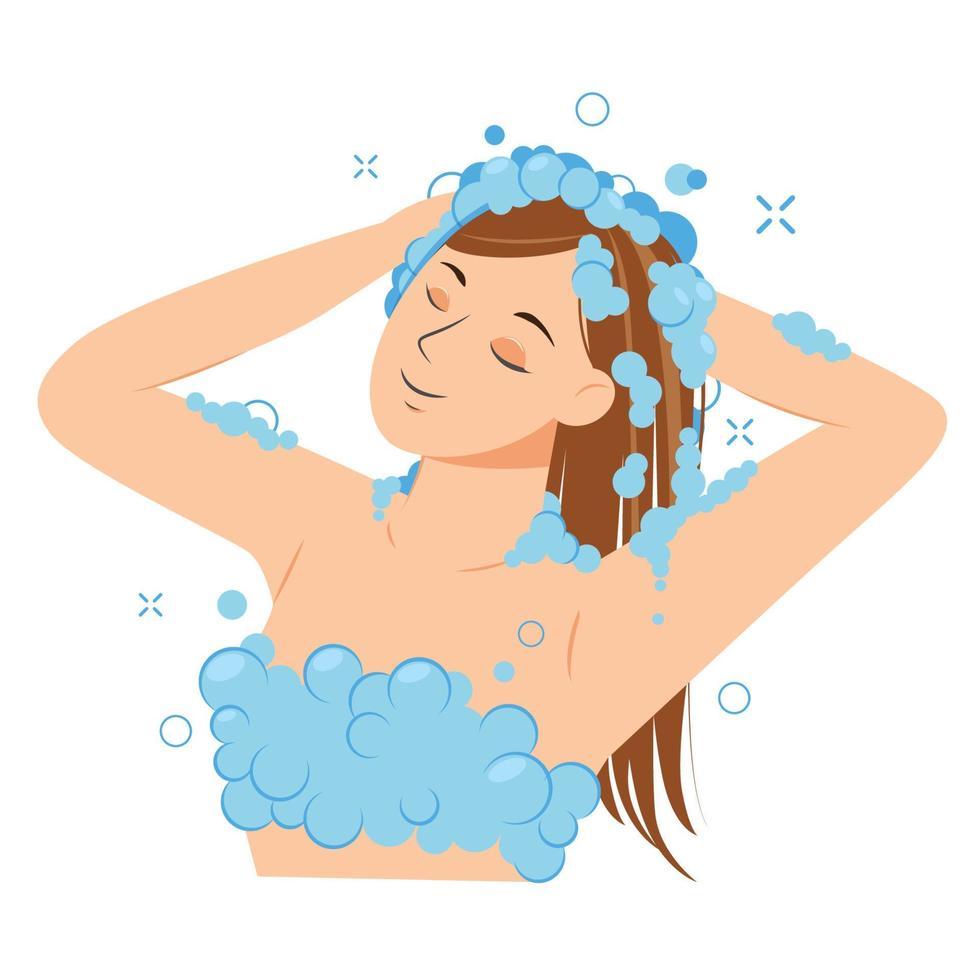 jovem, lavando a cabeça com shampoo no banheiro. menina no chuveiro. procedimento de higiene de rotina. ilustração vetorial. vetor