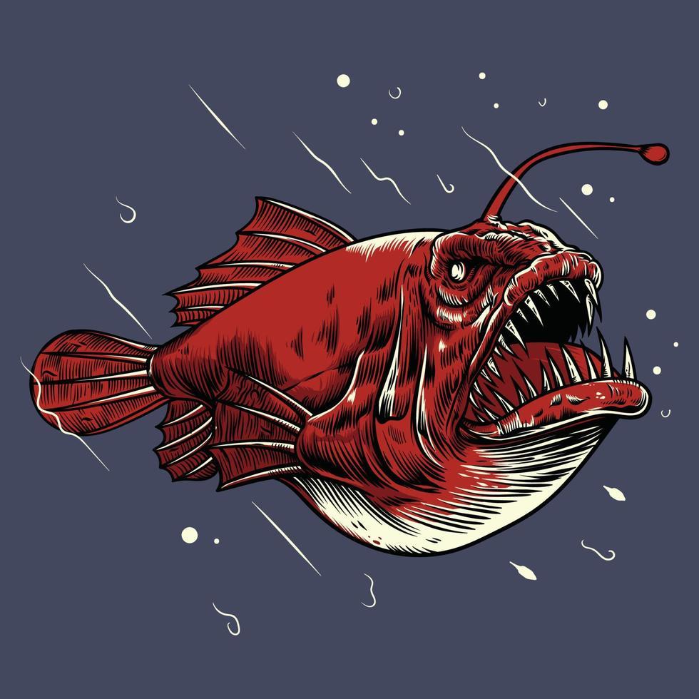 logotipo de ilustração vetorial de peixe-pescador vetor