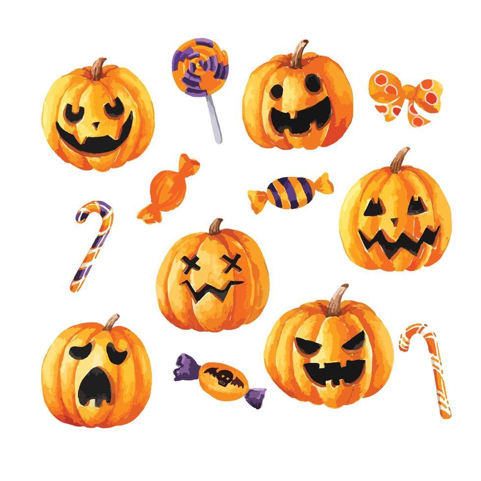 abóboras e doces para o dia de halloween vetor