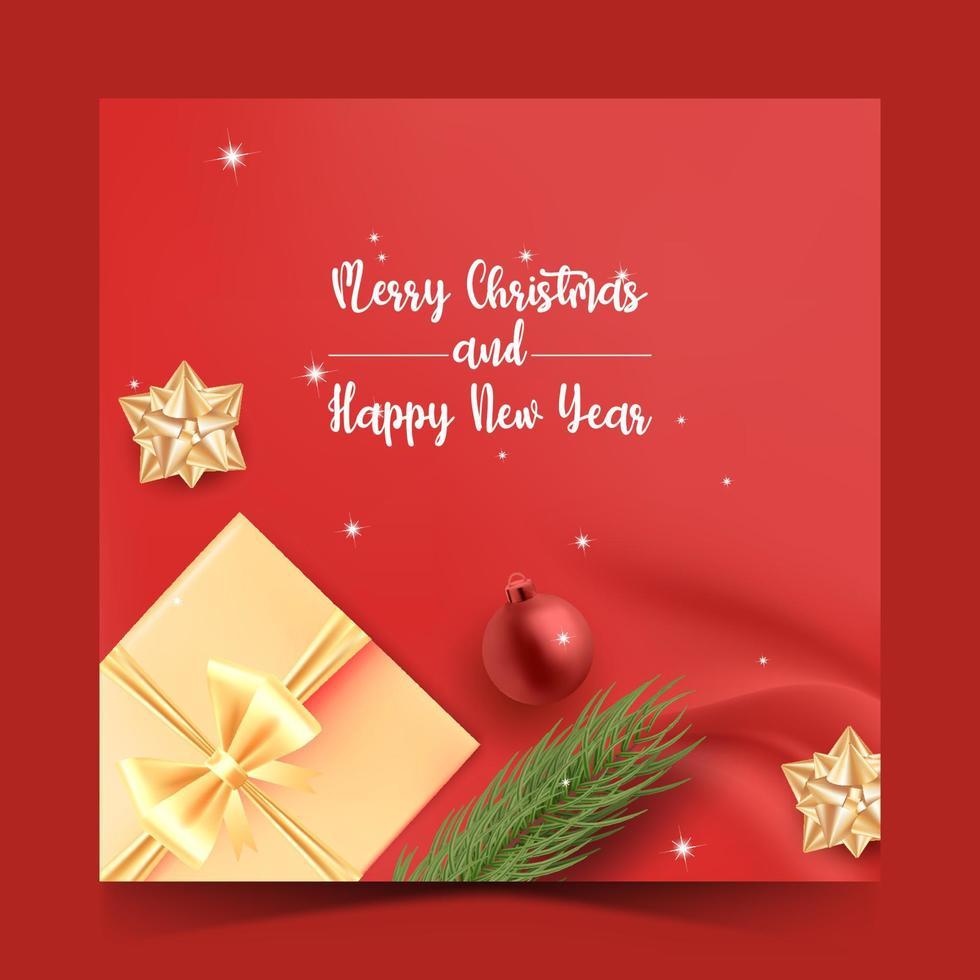 Feliz Natal mídia social postar modelo com caixa de presente. vetor