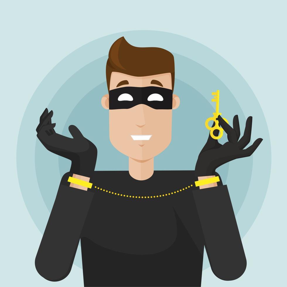 o ladrão mascarado é preso. tentativa de fuga, segurança hole.modern ilustração vetorial em estilo simples. vetor