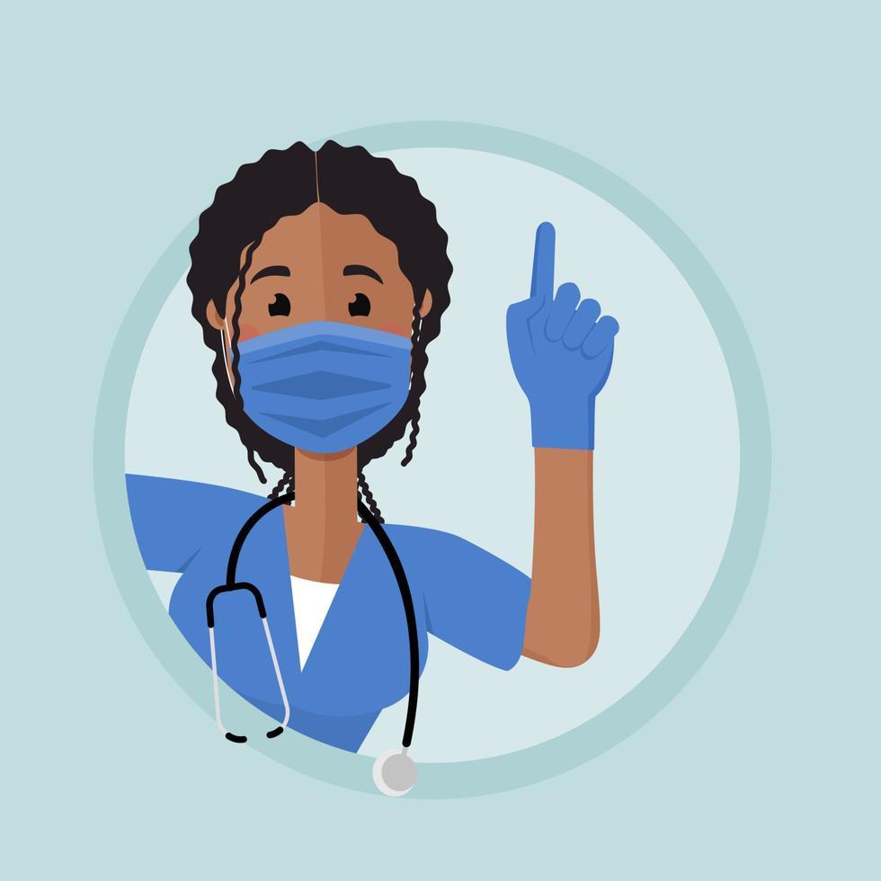 enfermeira afro-americana espia ao virar da esquina com um dedo levantado. enfermeira chama por atenção. vetor