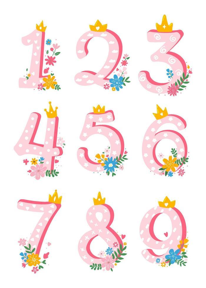 conjunto de bonitos, desenhos animados, números femininos de 1 a 10 com flores para convite, ilustração plana de template.vector de cartão. vetor