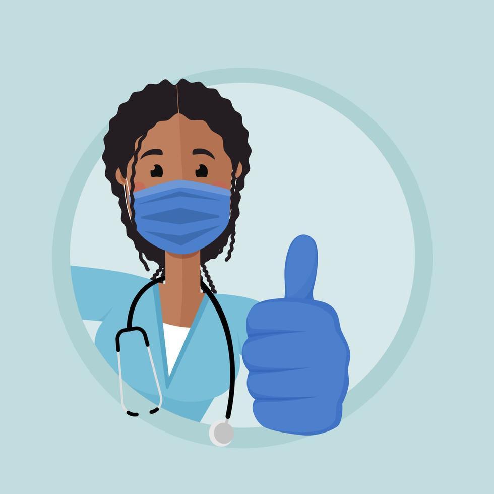 a enfermeira afro-americana espia na esquina e mostra a mão com o polegar para cima vetor