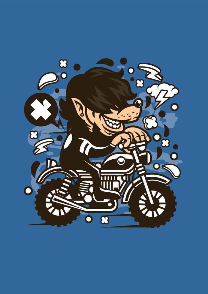 wolf ride motocrosser vetor