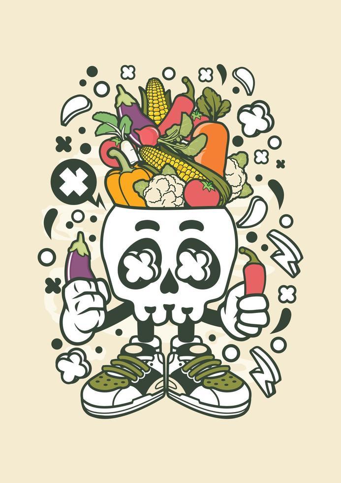 cabeça de crânio vegetal vetor