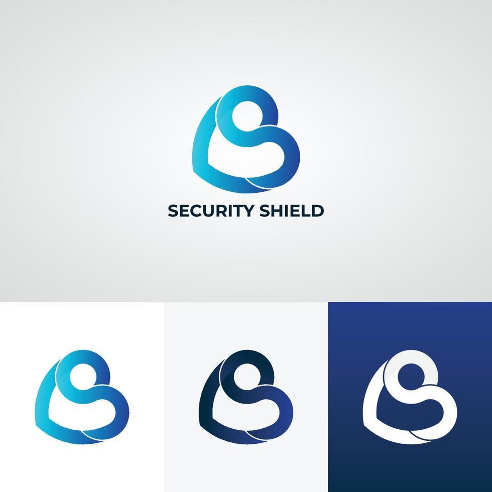 logotipo da letra do escudo azul vetor