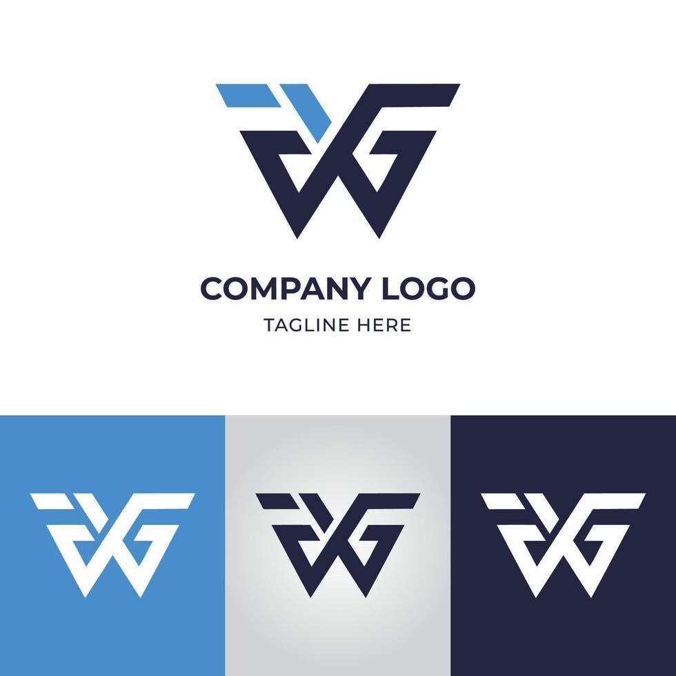 modelo de design de logotipo de carta wgf vetor