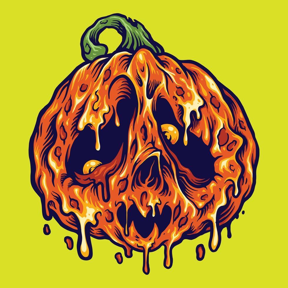 Halloween derreter abóboras ilustrações de terror vetor