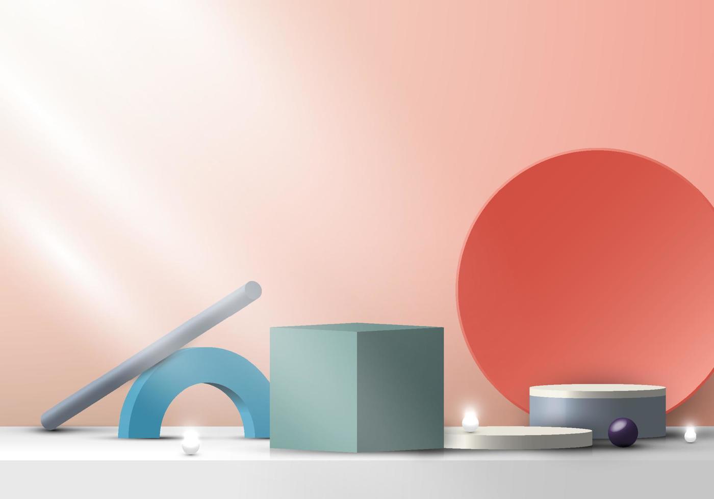 Composição de formas geométricas de grupo moderno 3D no palco para exibição de produto fundo mínimo da cena vetor
