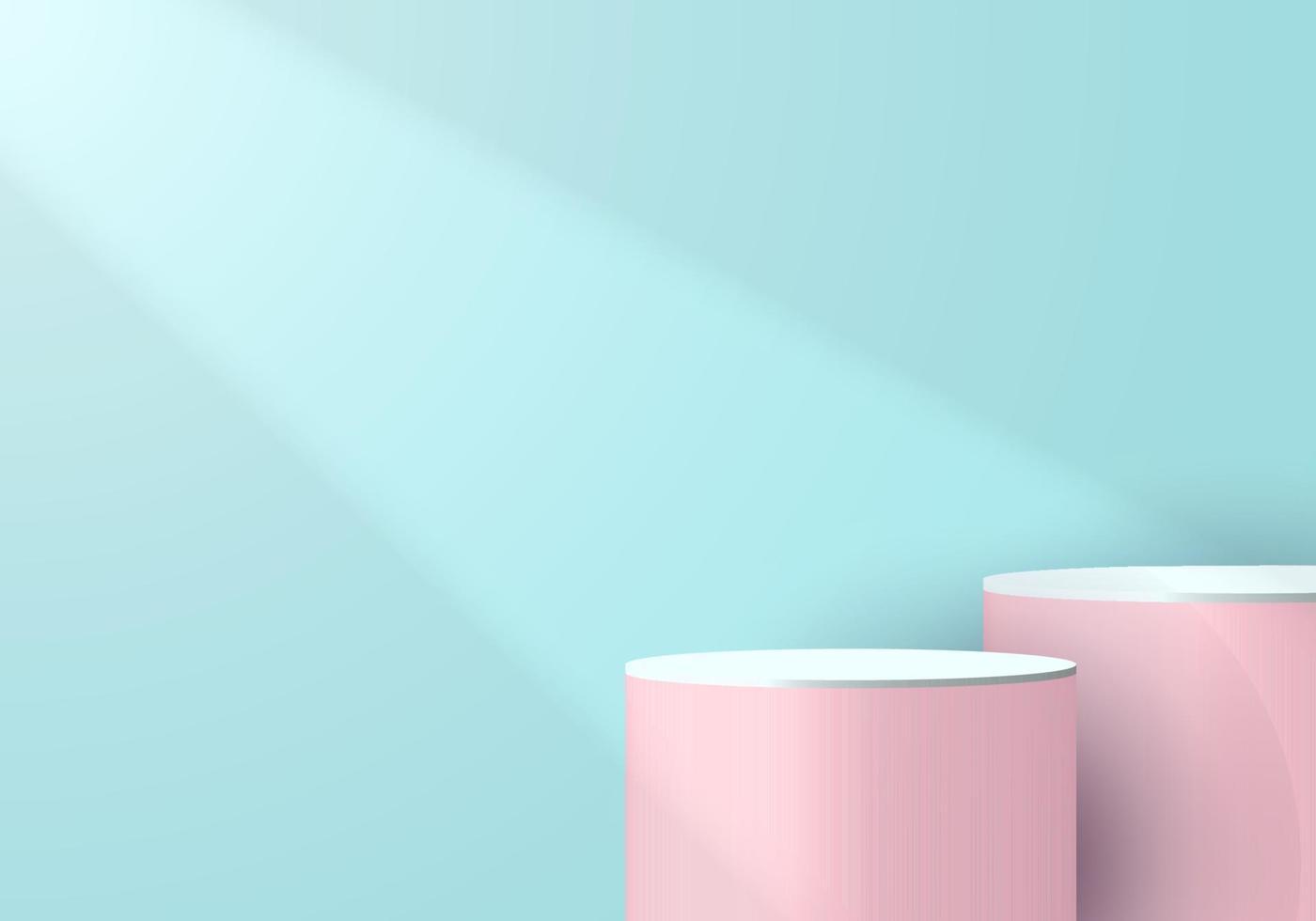Pedestal de cilindro rosa e branco 3D em uma sala vazia azul suave com luz e sombra de fundo vetor