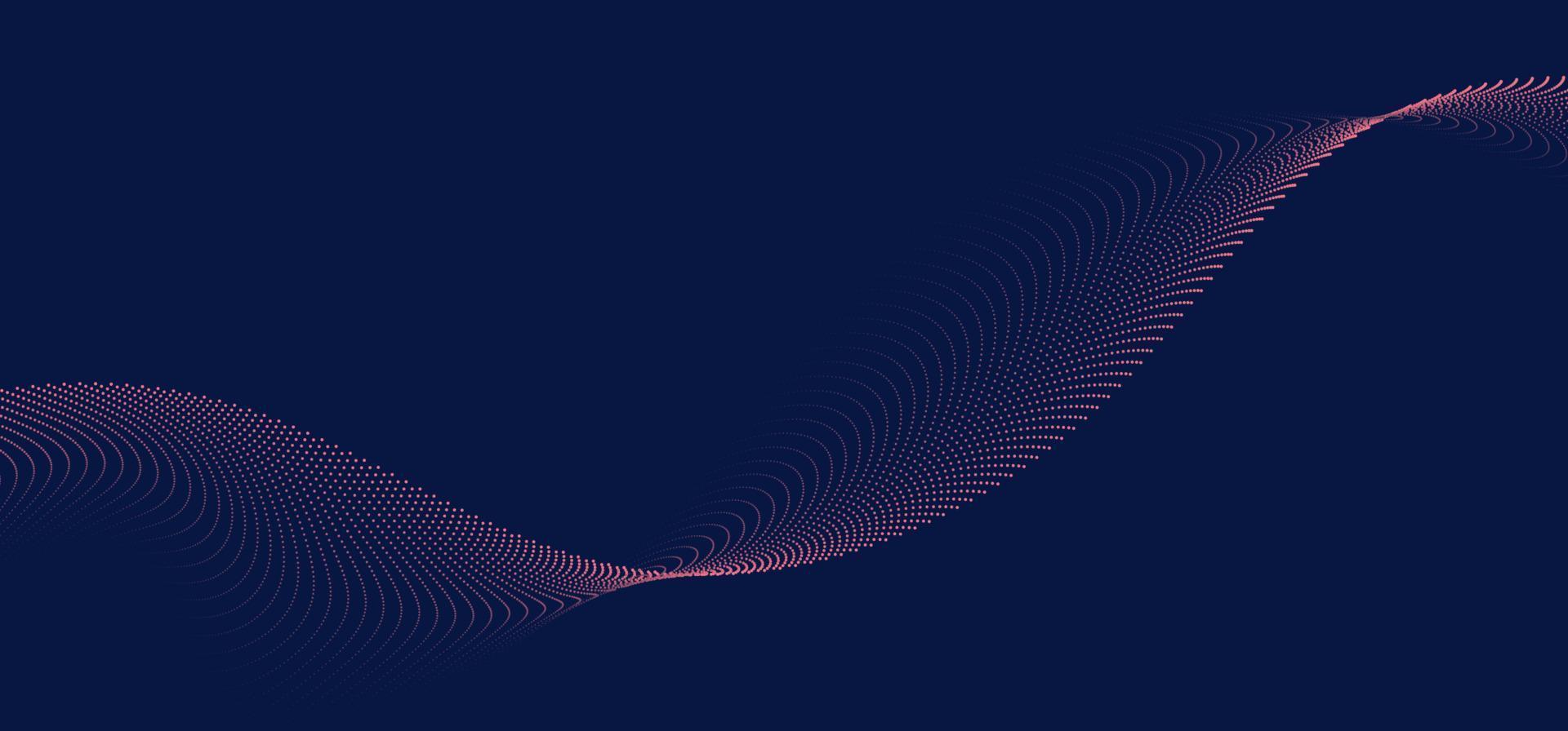 fundo abstrato linhas de onda 3d fluindo partículas suaves forma de curva pontos tecnologia de malha combinada conceito futurista vetor