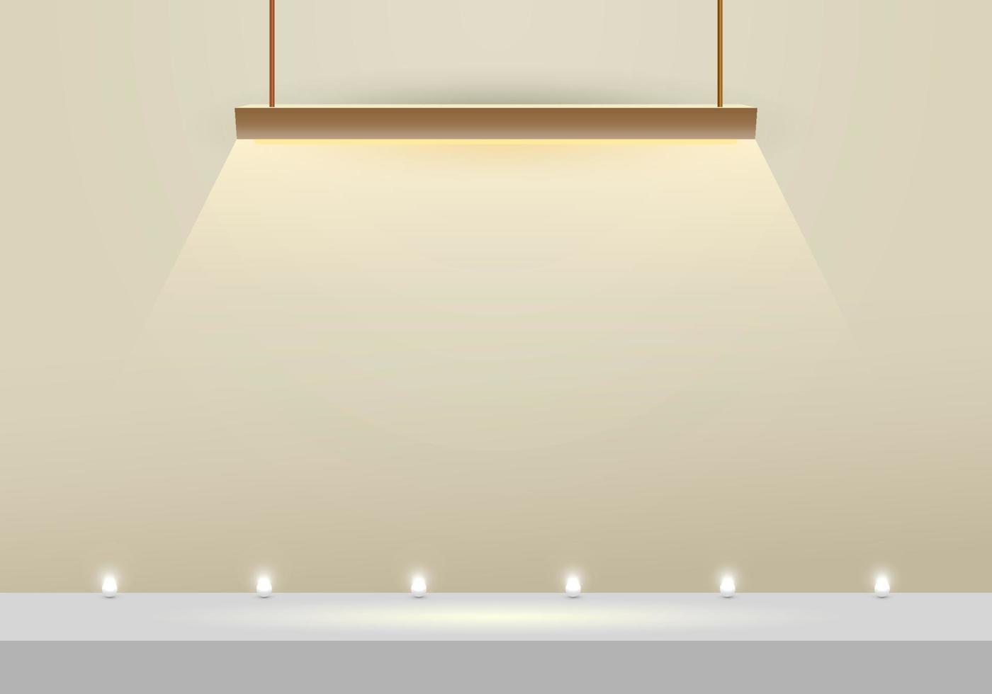 Lâmpada suspensa em 3D com cenário moderno e esfera de néon com cenário mínimo vetor