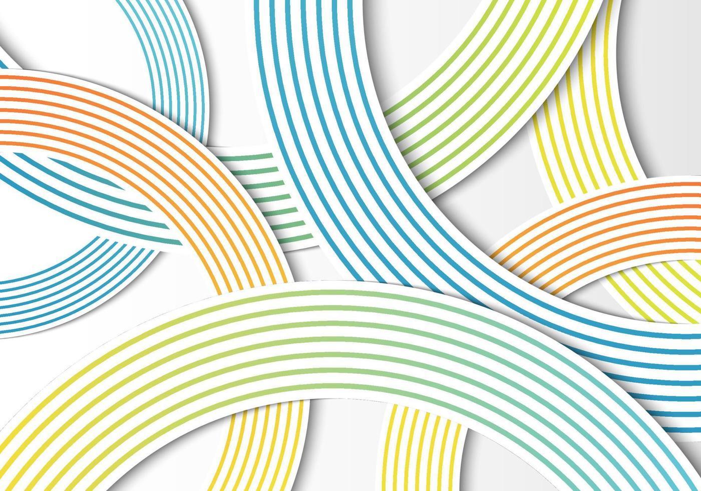 círculos abstratos linhas gradientes se sobrepõem à camada no fundo branco vetor