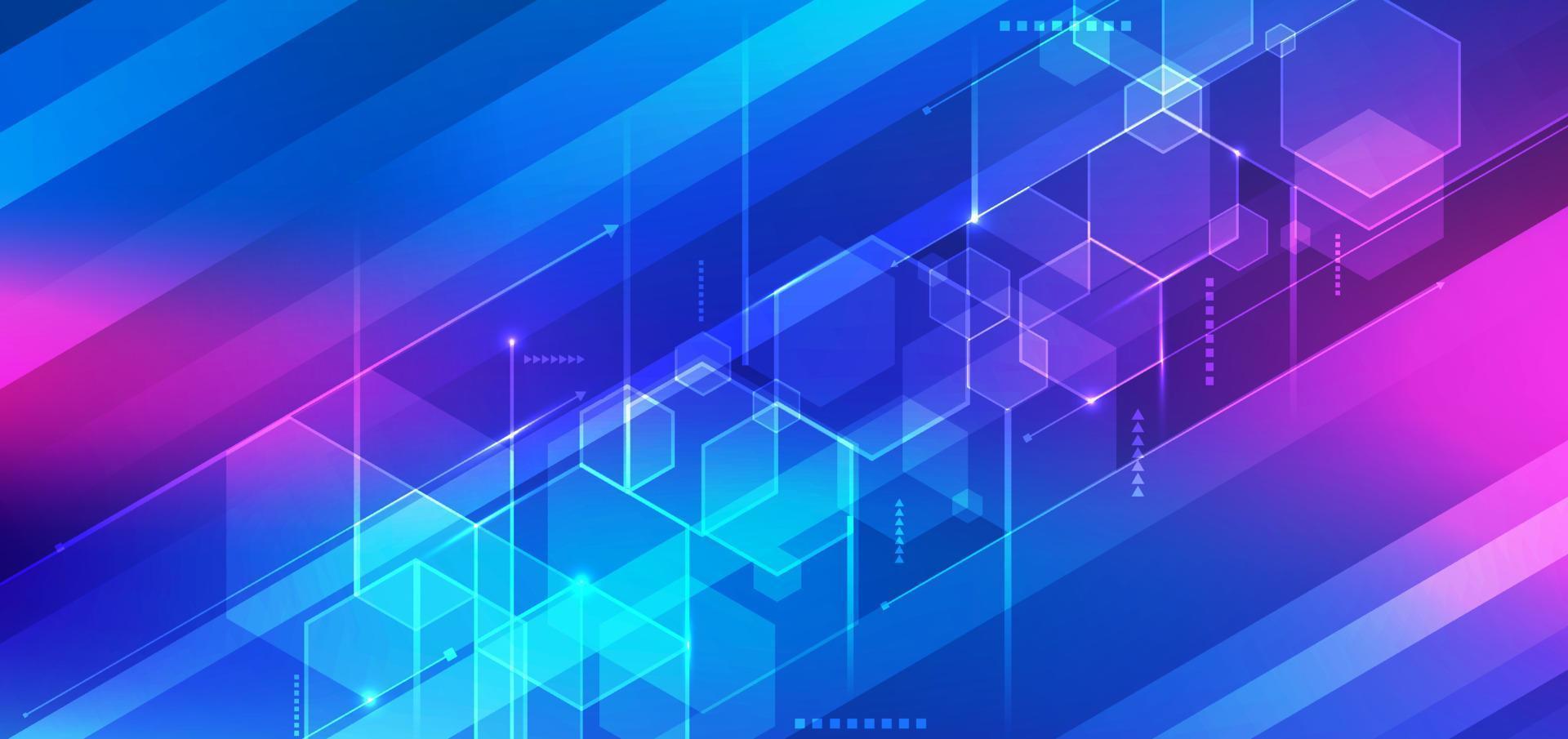 conceito futurista digital de tecnologia 3d abstrato hexágono geométrico azul com linhas no fundo de listras vetor