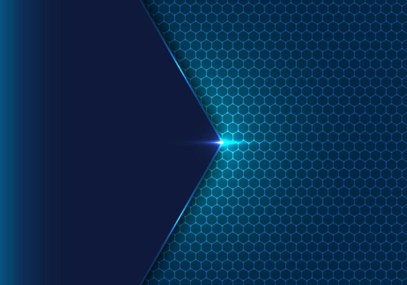 hexágono geométrico abstrato azul com padrão de pontos e fundo de conceito de tecnologia de efeito de luz vetor