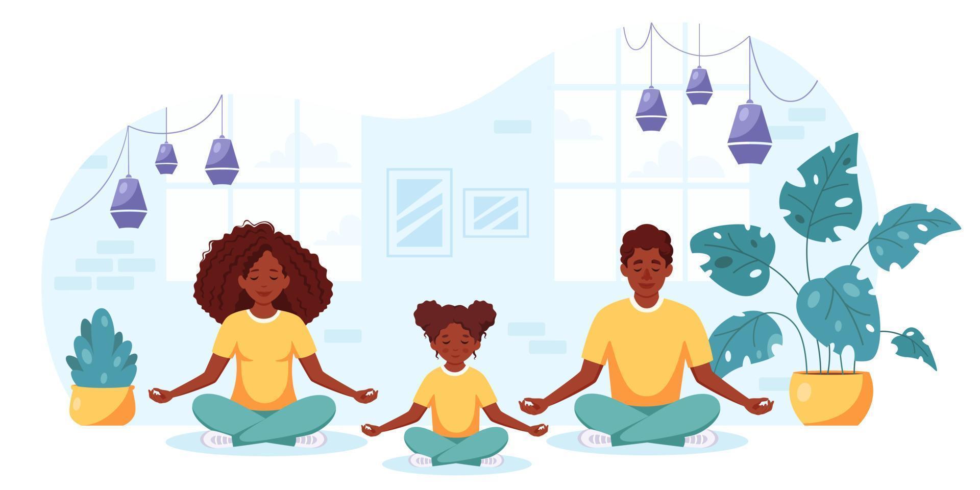 família negra fazendo ioga em um interior aconchegante. família passando um tempo juntos. vetor