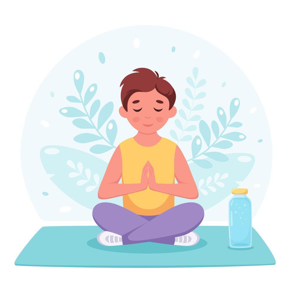 rapaz meditando na posição de lótus. ginástica, ioga e meditação para crianças. vetor