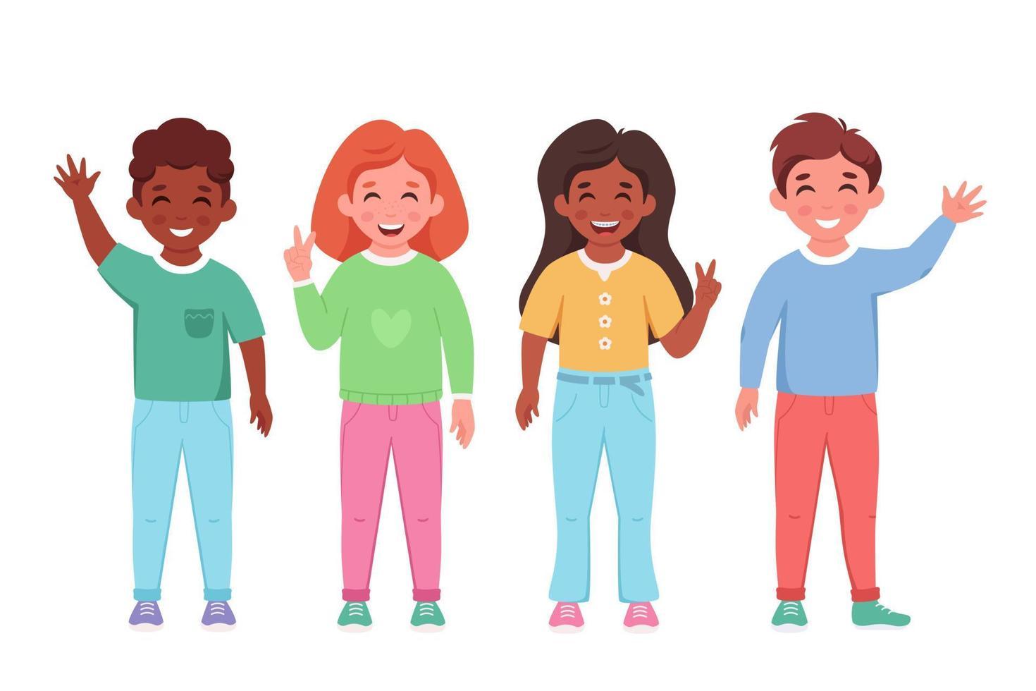 crianças de diferentes nacionalidades, sorrindo e acenando com as mãos. alunos do ensino fundamental. vetor