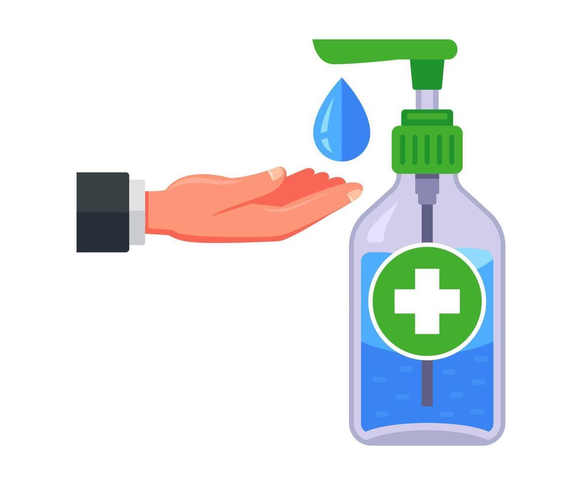 anti-séptico médico em uma garrafa de plástico. desinfecção das mãos. vetor
