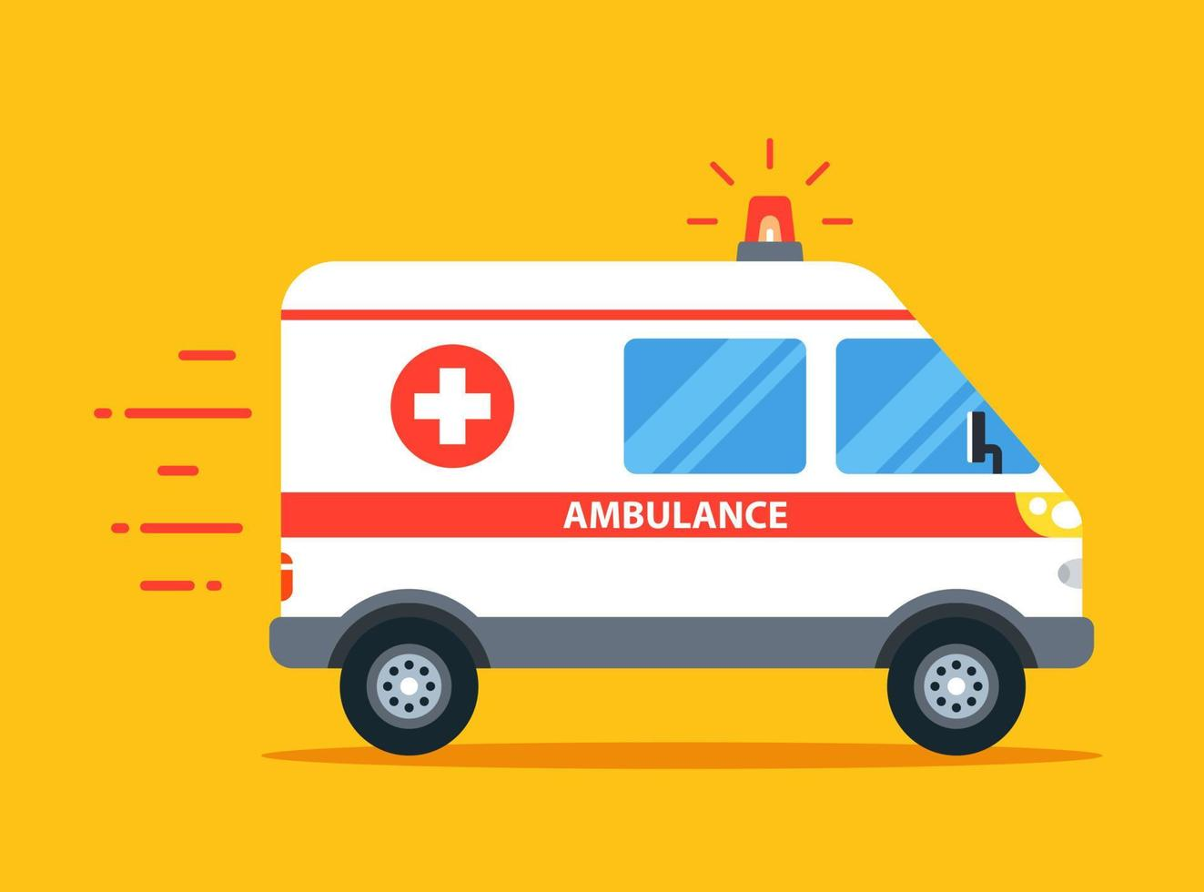 a ambulância atende a chamada com o pisca-pisca ligado. ilustração do vetor do carro liso.