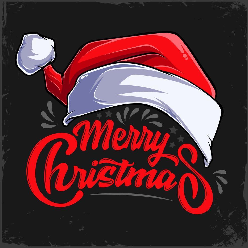 Feliz Natal letras de mão vermelha caligrafia e chapéu de Papai Noel para férias de Natal de inverno vetor