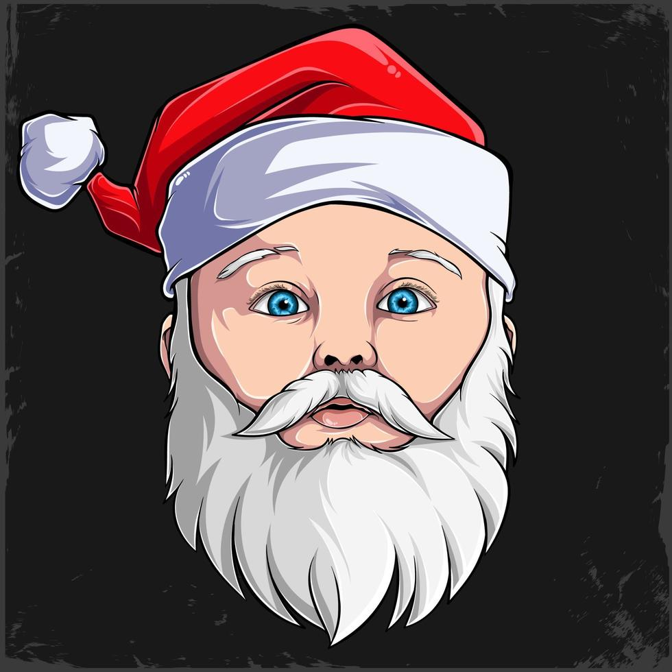 mão desenhada natal bebê fofo rosto de papai noel com chapéu e barba isolados no fundo preto vetor