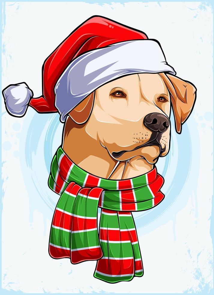 cabeça de cachorro labrador natal engraçado com chapéu de Papai Noel e lenço, cachorro labrador natal vetor