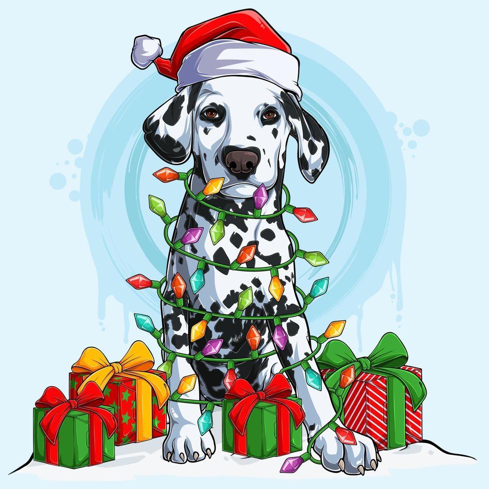 cachorro dálmata com chapéu de papai noel sentado e rodeado de luzes da árvore de natal e presentes nas laterais do corpo vetor
