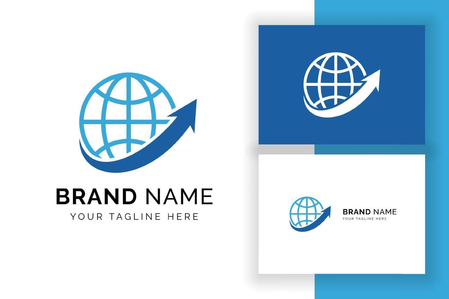 modelo de design de logotipo de negócios de finanças mundiais. globo com logotipo de vetor de seta.