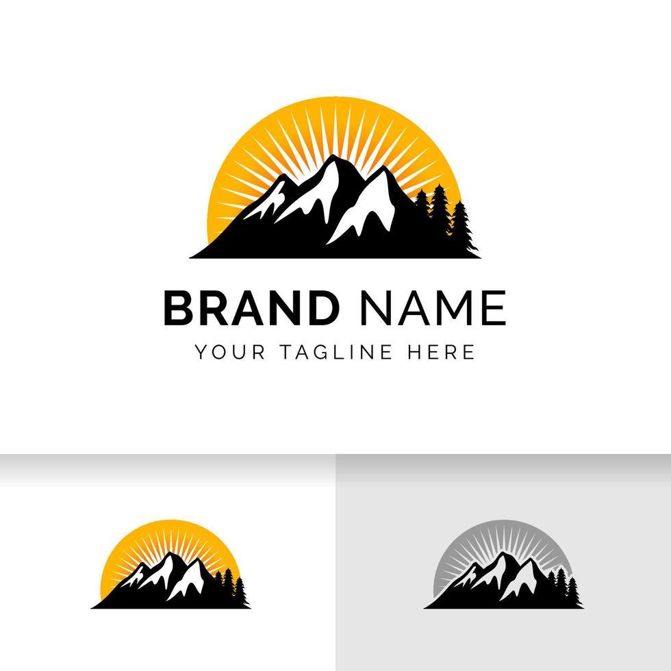 símbolo de sinal de design de logotipo de montanha. modelo de projetos de logotipo ao ar livre. vetor