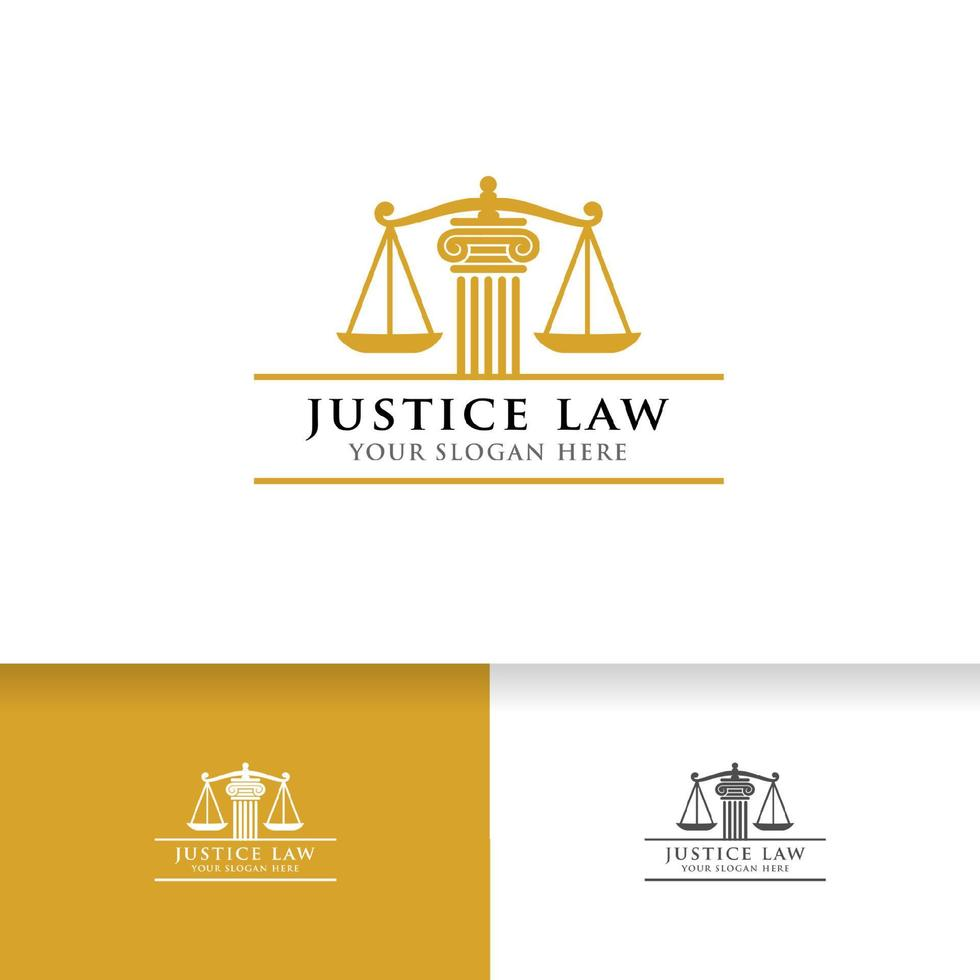 modelo de design de logotipo de lei de justiça. balanças e pilar do símbolo da justiça vetor