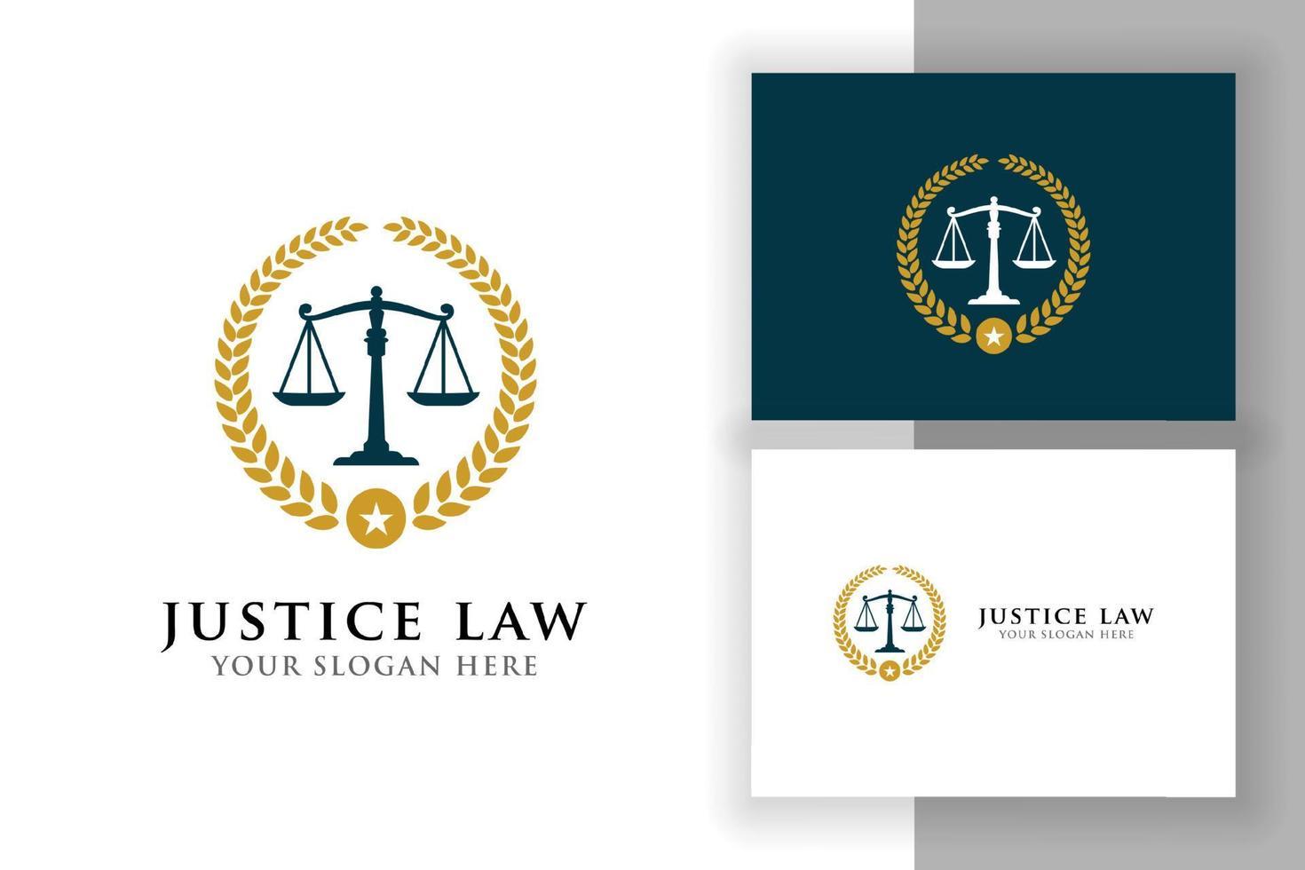 modelo de design de logotipo de distintivo de lei de justiça com ilustração vetorial de escalas vetor