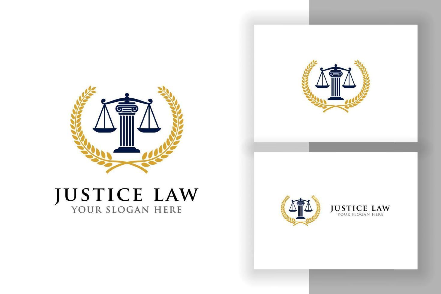 emblema do modelo de design de logotipo de lei de justiça. projeto de vetor de logotipo de advogado. ilustração vetorial de escalas e pilar da justiça