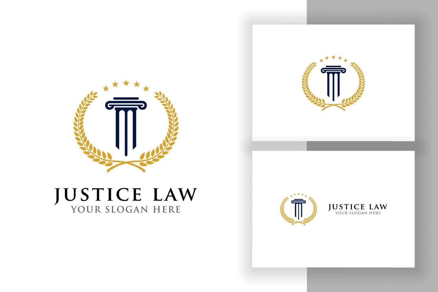 emblema do modelo de design de logotipo do pilar. modelo de design de logotipo de advogado e lei de justiça. modelo de logotipo de emblema de advogado vetor