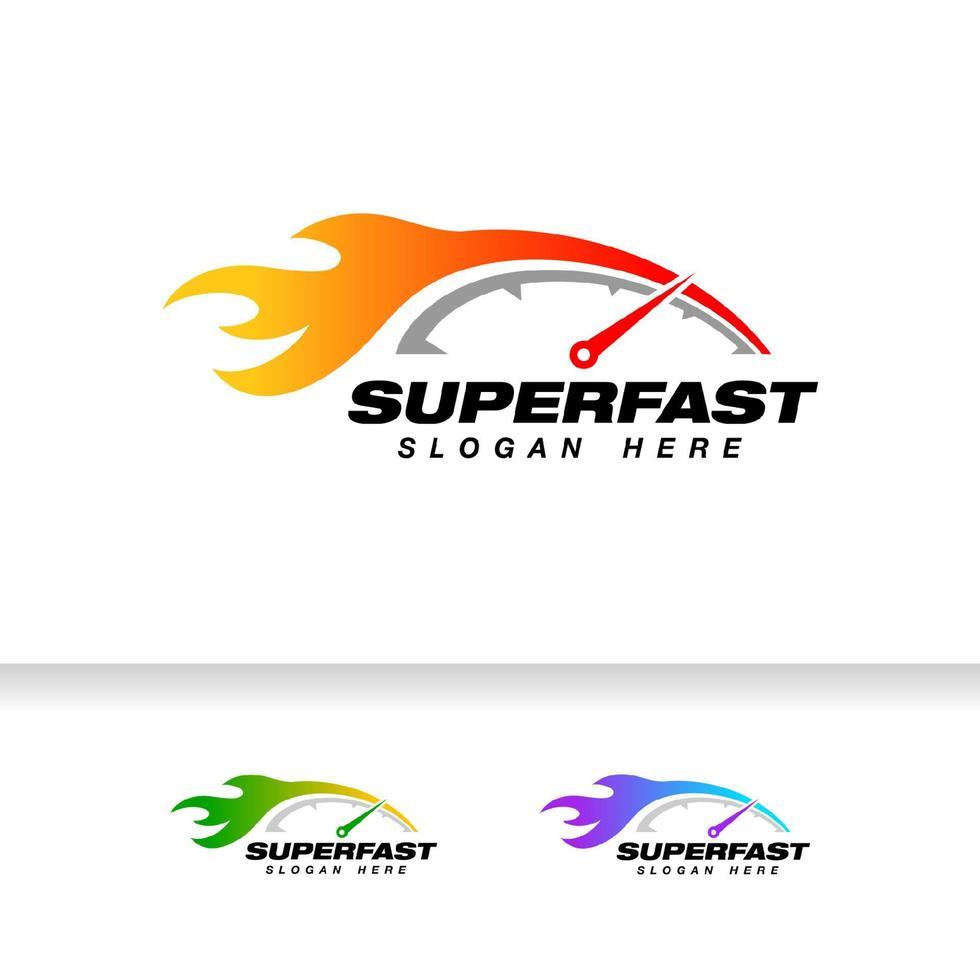 modelo de design de logotipo do velocímetro. ícone de vetor de velocímetro com ilustração de efeito de chama