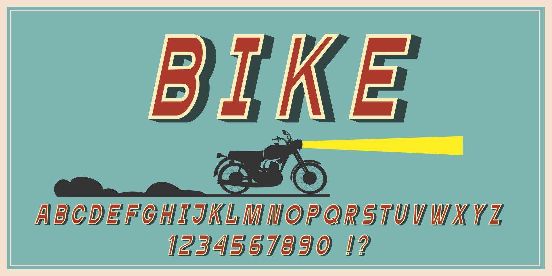 alfabeto, fonte vintage, letras e números retrô vetor