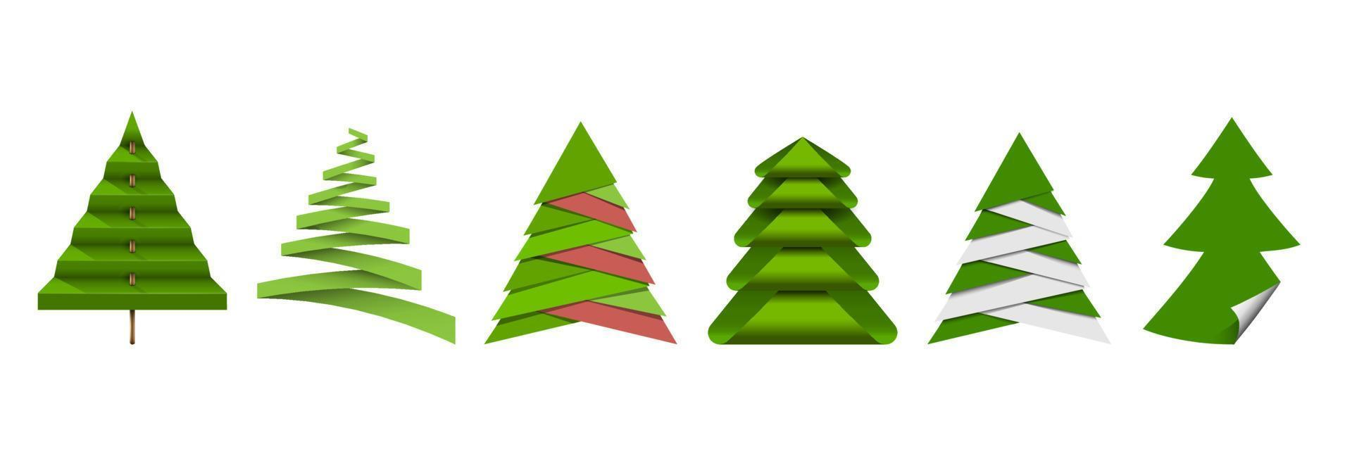 árvore de natal, diferentes elementos de origami de papel vetor