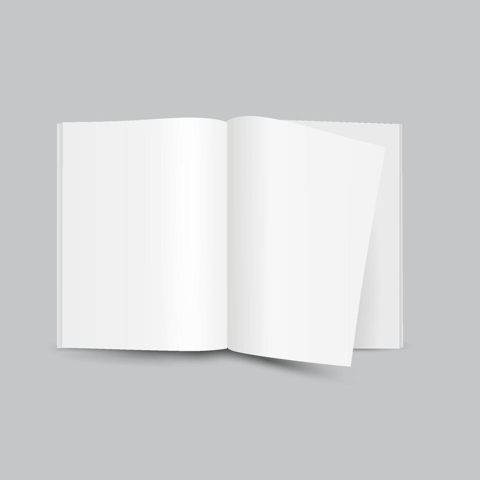em branco branco aberto revista frontal vista em fundo cinza, mock up vetor