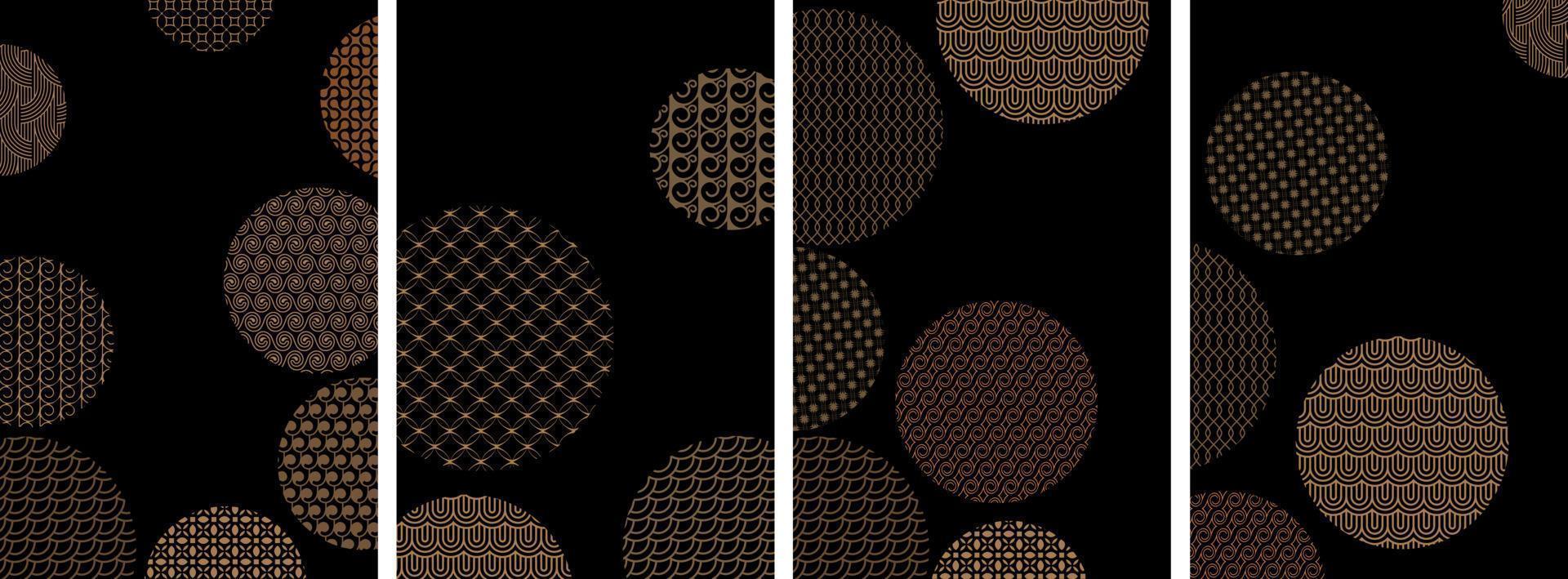 capas com círculos e diferentes padrões geométricos dourados em preto, conjunto de vetores