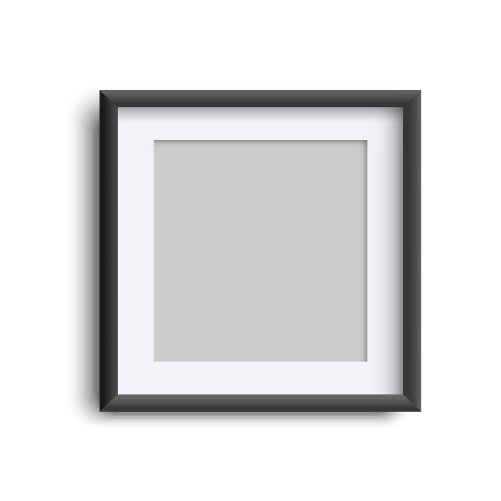 moldura em branco isolada em branco, moldura quadrada preta realista simulada vetor