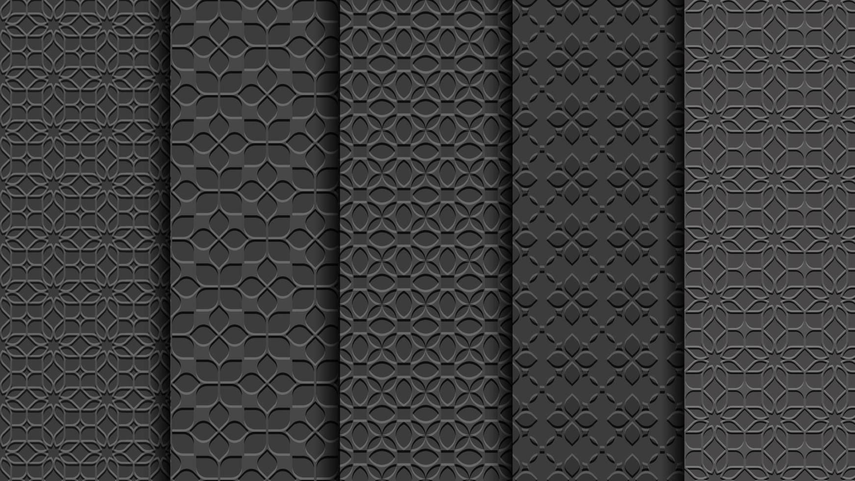 padrões florais pretos sem costura, estilo esculpido, conjunto vetor