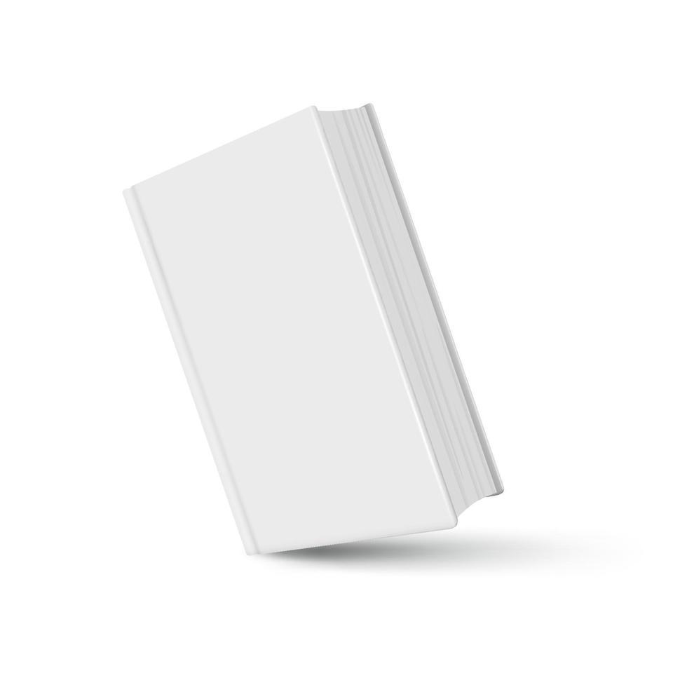 livro maquete branco realista com sombra no fundo branco vetor