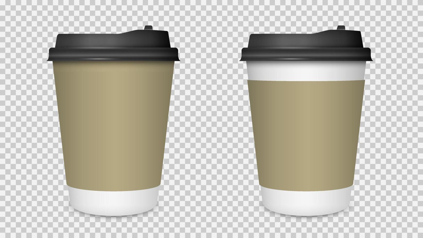 xícara de café isolada, maquete de xícara de café de papel em branco vetor