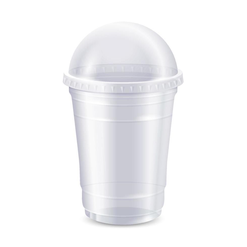 copo de plástico descartável transparente vazio com tampa vetor