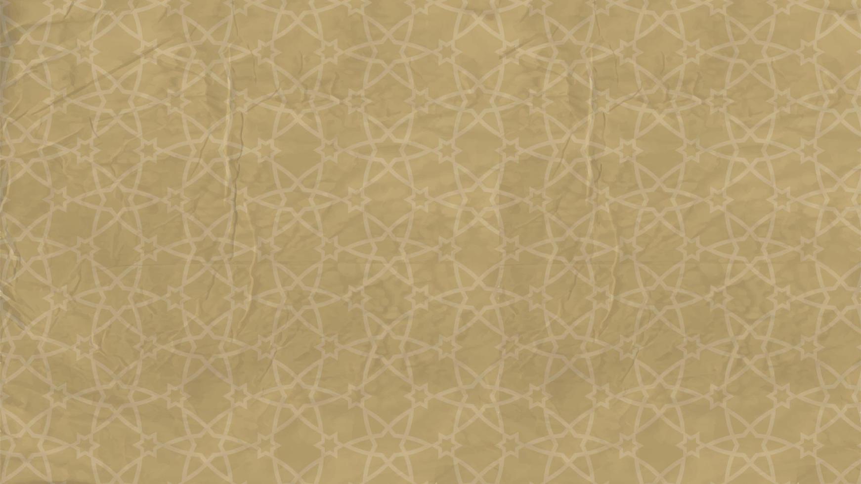 plano de fundo - padrão oriental com estrelas islâmicas, ornamento árabe em papel velho vetor